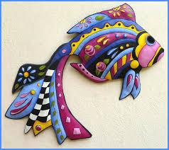 hand painted metal tropical fish wall