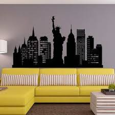 new york city skyline wall decal silhouette di nyc new york muro decalcomanie statua di liberty ufficio salotto nyc wall art home decor on new york skyline wall art stickers with new york skyline new york wall decal ny decal new york wall art
