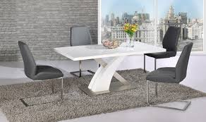 white glass gloss dining table and 4 grey chairs set
