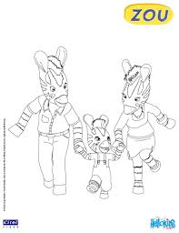 Zou And His Parents Coloring Page
