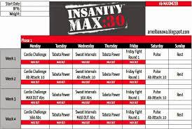 Insanity Max 30 Workout Calendar - Ab Maximizer | Beachbody ...