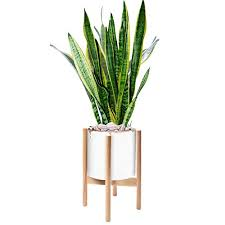 8 5 inch wood plant stand easelive mid century modern flower pot stand for indoor outdoor planter floor solid wood potted rack holder pot not included