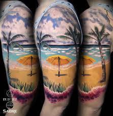 Hawaiian Beach Half Sleeve Best Tattoo Design Ideas