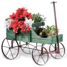 Decorative Garden Carts Wagons Wagon Decorative Garden Planter Green  Contemporary Outdoor