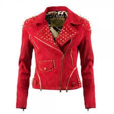 impero london las luxury red leather gold spike biker jacket