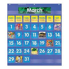 Monthly Calendar Pocket Chart 25 1 2 X 10 X 0 13 Blue Clear