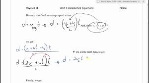 physics 11 u3l3 constant acceleration equations