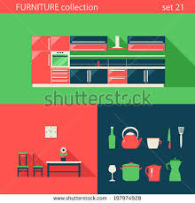 creative furniture icons set flat design. creative design flat furniture vector icons set kitchen chair table stuff