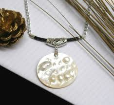 aluminium necklace with mabe pearl pendant al bg mb n