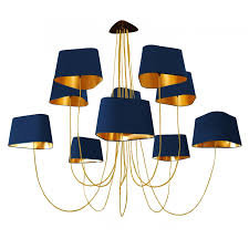 chandelier 10 grand nuage navy blue and gold image