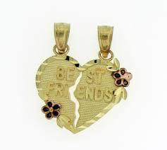 details about new 14k solid gold two tone best friend 2 pieces split break heart pendant charm