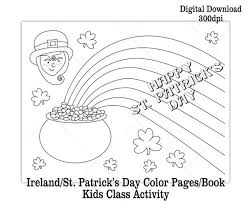 St Patricks Day Coloring Printable Ireland St Patricks Day Coloring Pages Make A Coloring Book Kids Class Activity Digital Download