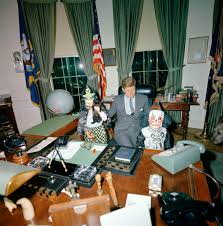 jfk in oval office. President John F. Kennedy With Caroline And Kennedy, Jr., In Halloween Masks Jfk Oval Office :