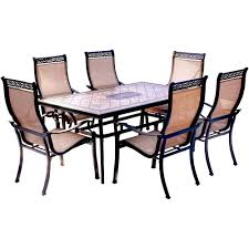 hanover monaco 7 piece aluminum outdoor dining set with rectangular tile top table and