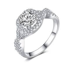 round cut white sapphire 925 sterling silver enement ring