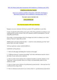 Psy 305 Week 2 Individual Assignment Apa Guidelines 1 Brochure And