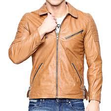 Light Brown Leather Jacket Mens Mens Slim Fit Light Brown Leather Biker Jacket