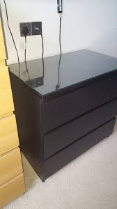 3 drawer with glass top ikea malm chest of drawers black brown good