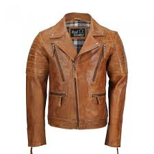 mens tan sheep leather vintage style biker fashion casual leather jacket mj 518