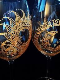 hand painted glassware in henna style sun moon designs custom personalized option