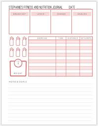 Fitness And Nutrition Journal Custom Fitness Journal Printable Custom Pages Custom