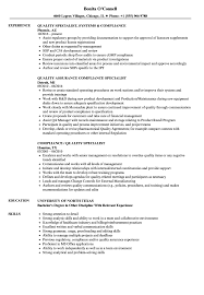 Compliance Quality Specialist Resume Samples Velvet Jobs