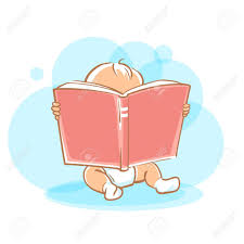 genius baby in diaper holding open book looking for answer toddler boy read sitting