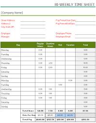 Bi Weekly Timesheet Template Free Free Printable Bi Weekly Timesheet Template For Excel
