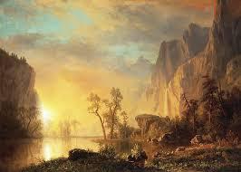 landscape painting sunset in the rockies by albert bierstadt