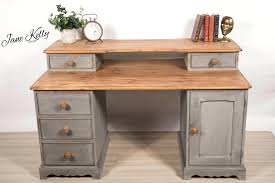 homemade office desk. Wonderful Office Rustic Office Desk Vintage Pine Homemade Chalk Paint On