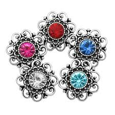 new kz3164 beauty rhinestone hollow flowers 20mm snap ons fit 18mm snap jewelry whole