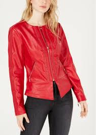 guess mae flirty faux leather jacket