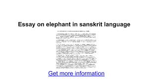 essay on elephant in sanskrit language google docs