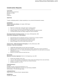 Construction Experience Resume Amazing Construction Resume Examples