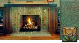 amazing arts and crafts style tile treatment on a fireplace