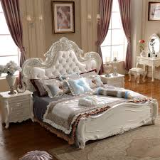 Low Bedroom Furniture End Fashion Leather Bed Continental Low Box Carved Princess
