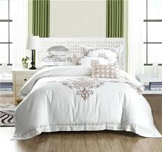 embroidered duvet white color bedding set queen king size hotel bed set cotton embroidered duvet daisy