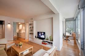 Apartment:Small Apartment White Interior Design With Smart Room Partitions  Living Room And Office Also