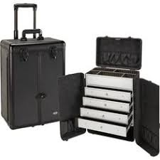 pro black rolling makeup case w drawers