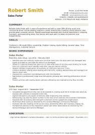 Porter Resume Examples Sales Porter Resume Samples Qwikresume