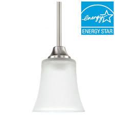 sea gull lighting holman 1 light brushed nickel mini pendant