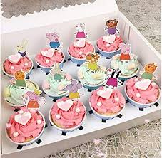 Set Of 48 Pieces Peppa Pig Cupcake Topper Peppa Pig Theme Party Decorative Cupcake Topper For Sweet Heart Birthday Party