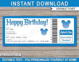 to Disneyland Ticket Template ...