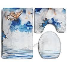 zhiqiandf amazing erfly fairy of flowers hydrangeas and iris white non slip 3 piece bath rug