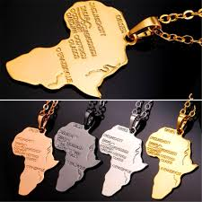 africa continent necklace pendant chain