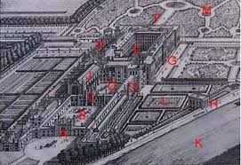 hampton court palace with marked reference points referred to on this page a west front main entrance b base court c clock tower d clock court