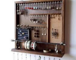 Jewelry organizer. earrings display. earring holder. necklace holder. Dark  walnut display.