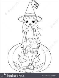 Illustration Of Little Halloween Witch Coloring Page