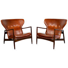 modern leather chair. Captivating Lounge Leather Chair Ib Kofod Larsen Pair Of Danish Modern Chairs I