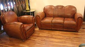 french leather club chairs. french art deco leather sofa and club chair 2 chairs